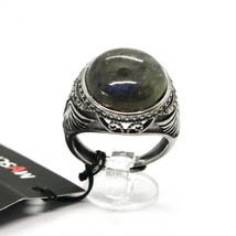 925 Silver Ring Brown Burnt Labradorite & Marcasite Made in Italy by Maschia image 1