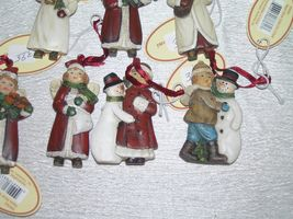 Lot of 7 Small Red & White Resin Girl Boy w Snowman Playing Musical Instrument image 5