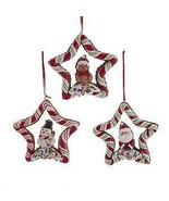 Set of 3 Candy Stripe Star Ornaments w - $9.99