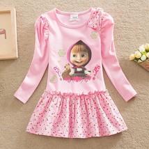 Masha and Bear Baby Girl Dress Pink Pattern Par... - $14.00