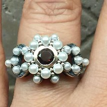 Natural Freshwater Seed Pearl, Bohemian Garnet 925 Solid Sterling Silver... - $79.19