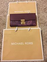 Michael Kors Bridgette Paisley Purple Plum Leather Carryall Flap Wallet ... - £70.96 GBP