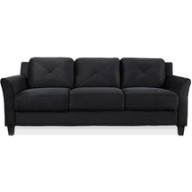 "78.75"" Curved-Arm Sofa, Black - $399.99"