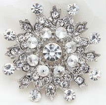 Wedding Snowflake Rhinestone Crystal Brooch Pin Bridal Jewelry - $8.90