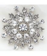 Wedding Snowflake Rhinestone Crystal Brooch Pin Bridal Jewelry - $8.90