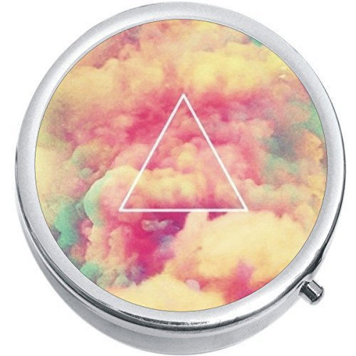 Primary image for Triangle Colorful Clouds Medicine Vitamin Compact Pill Box