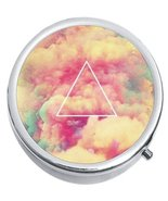 Triangle Colorful Clouds Medicine Vitamin Compact Pill Box - $9.78