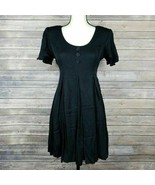 Vintage Jeffrey & Dara Black Evening Midi Dress Short Sleeve A Line Wome... - $58.04