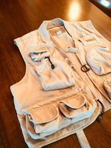 WFS KHAKI Beige fishing vest Size L 60% Cotton 40% Poly #186 image 2