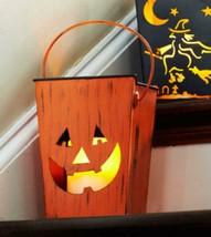 "7.25"" Orange Carved Pumpkin Halloween Candle Lantern Luminary - $25.04"