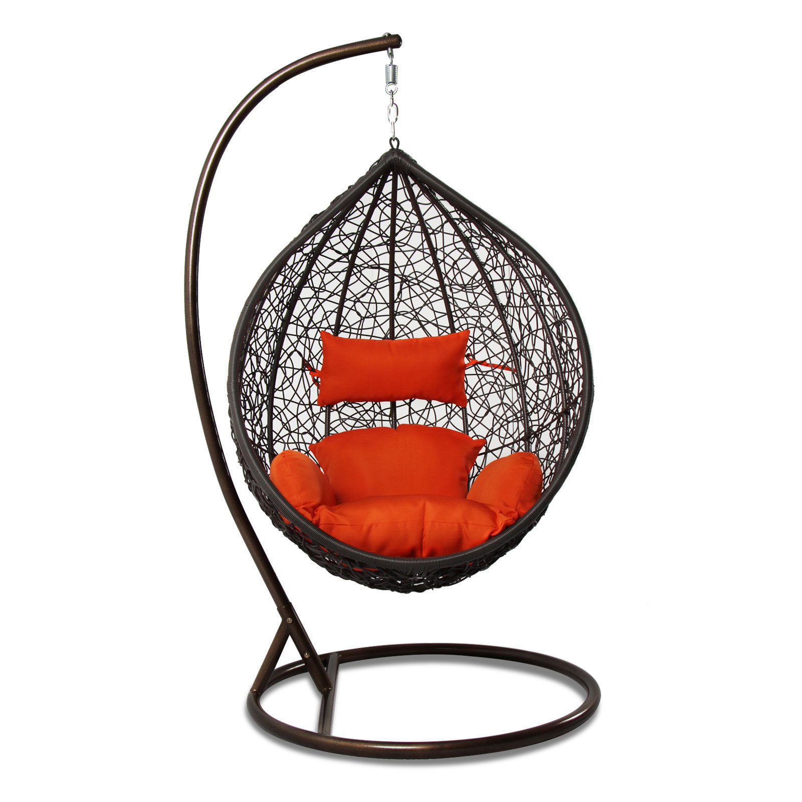 Rattan Outdoor Wicker Hanging Chair Egg Shape Stand Porch ...