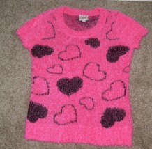 JUSTICE Girls Pink HEART Short Sleeve FUZZY Sweater Size 10 - $8.50