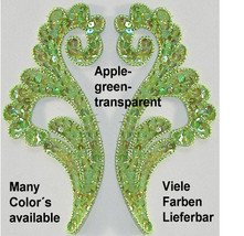 pair appliques sequins applikationen pailletten sew on embroidery handmade ap121 - $6.99