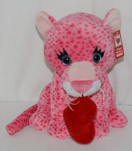 Ganz Brand HV9105 Pink Spotted Plush Chewey Style Leopard With Heart