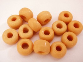 25 5 x 9 mm Czech Glass Crow Beads: Yellow Peach - $1.13