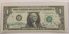 1969 D AUTOGRAPHED $1 FEDERAL RESERVE NOTE BY THE TREASURER & SECRETARY ... - $225.00