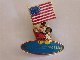 Disney Trading Pins 7859 WDW - Mickey Holding USA Flag (Red Background) - $9.49