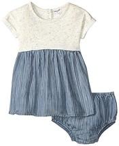 Splendid Baby Girls' Mixed Fabric Dress & Bloomer, Blue, 6-12 - $45.54
