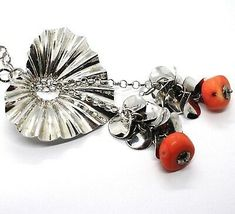 Necklace Silver 925, Heart Wavy, Cascade of Petals, Bunch, Coral image 3