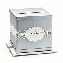 Hayley Cherie - Silver Gift Card Box with White Lace and Cards Label - I... - $20.99