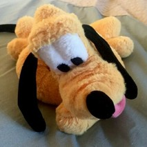 Disney Store Pluto Dog Plush Stuffed Animal Laying Down Collar Mickey Mouse - $10.00