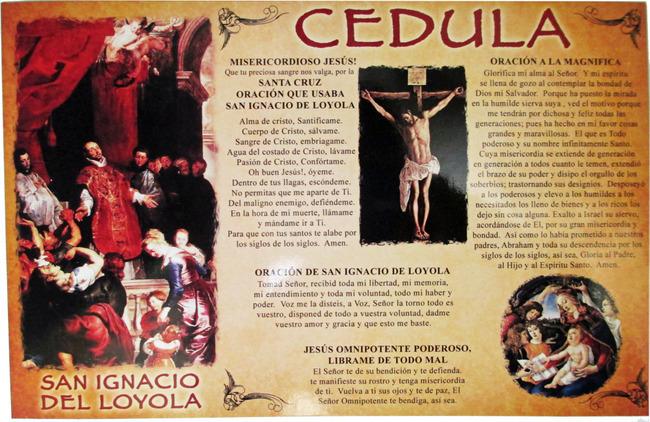 CEDULA DE San Ignacio de Loyola