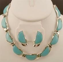 LISNER Blue Slices Lucite Thermoset Plastic Necklace & Earrings Set DEJ301 - $19.79