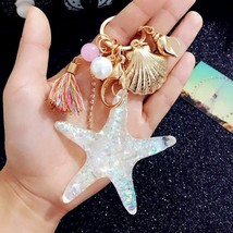 Starfish Keychain Pearl Shell Key Ring Sea World Crystal Pendant For Wom... - $13.11