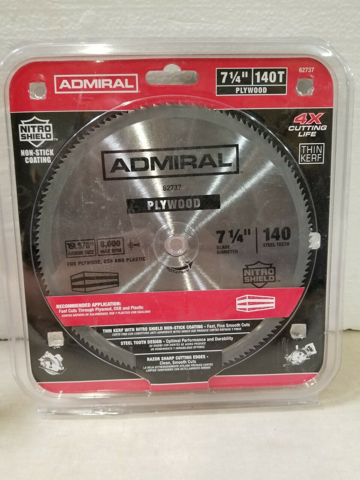 "Primary image for NEW Admiral Saw Blades 7 1/4"" 140T Plywood Steel Blade 62737"