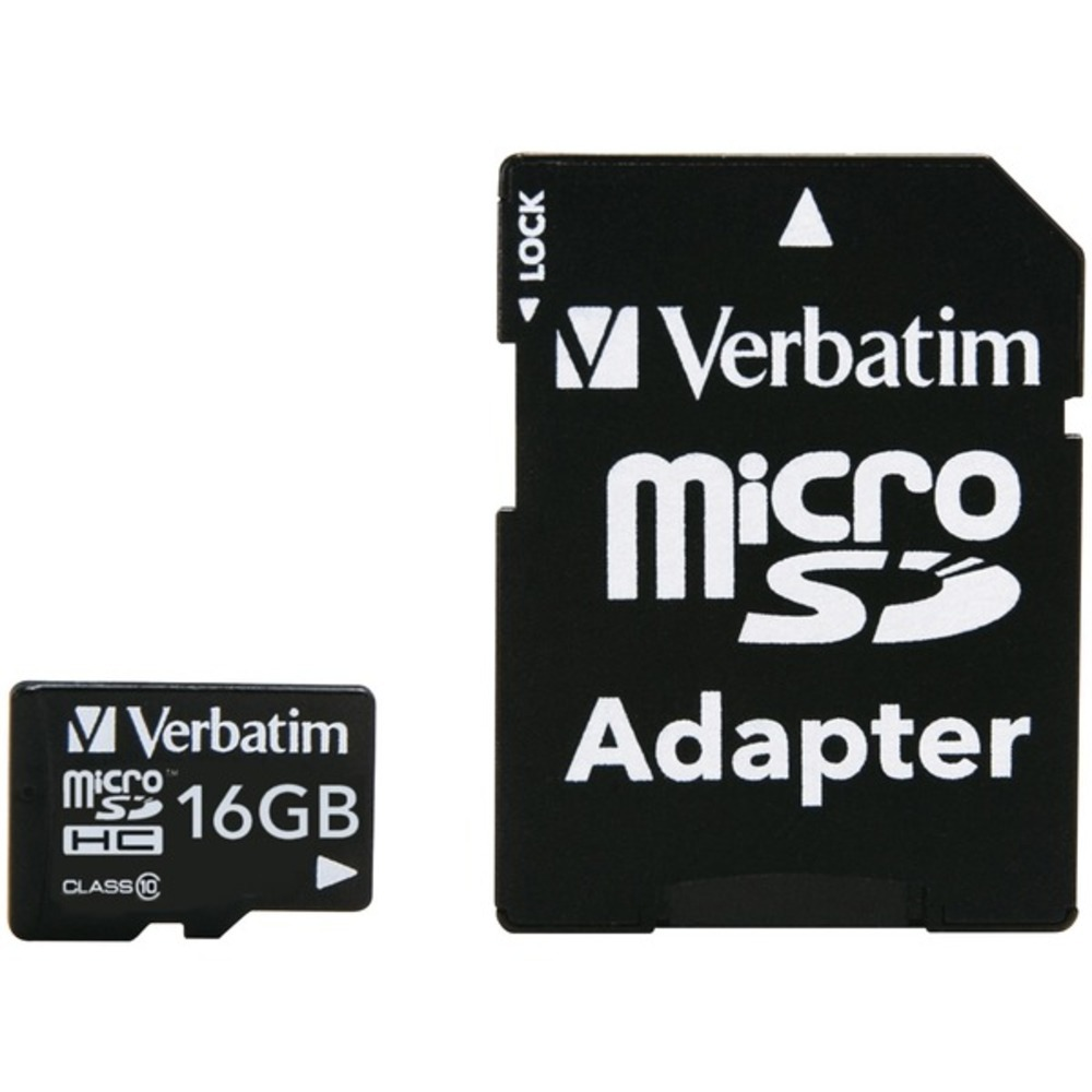 Primary image for Verbatim 44082 microSDHC Card with Adapter (16GB; Class 10)
