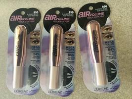 L'Oreal Paris Air Volume Mega Mascara Sealed NEW Black Brown #852 ~ Lot of 3 - $19.22