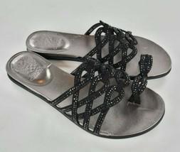 Vince Camuto Embellished Toe-Loop Sandals Emmista BLACK Size 8.5 M - $37.62