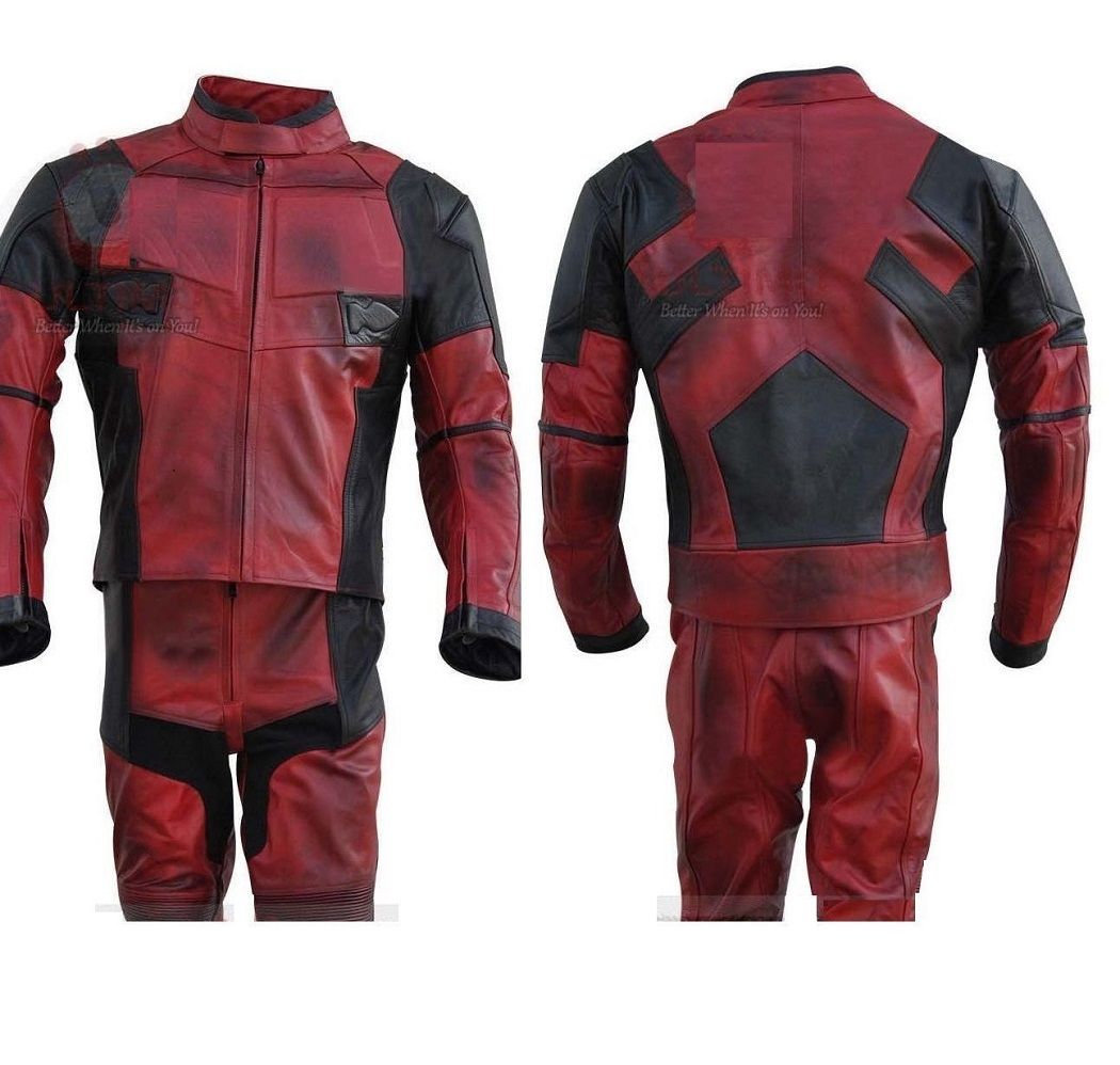 Deadpool Black Red Real Leather Suit Jacket Pants For Both Costum,Motorcycle use