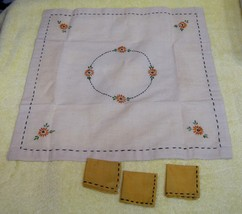 Vintage Tiny  Doll & Teddy Bear Size Table Cloth w 3 Napkins Embroidery ... - $28.22