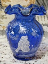 """Fenton Glass Cobalt Blue Mary Gregory Style 5.25"""" Vase Limited Edition #1607 - $88.00"""