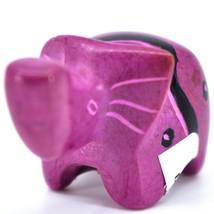 SMOLArt Hand Carved Soapstone Fuchsia Elephant Miniature Figurine Made in Kenya image 2