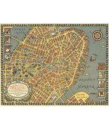 1922 Map of Old Boston in the Commonwealth of Massachusetts Wall Poster ... - $12.38