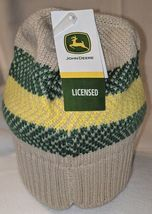 John Deere LP67786 Acrylic Knitted Tan Green And Yellow Beanie image 6