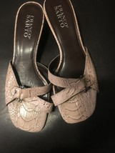 Franco Sarto 7 Heels Sandals Brown Ivory Snakeskin Print Leather Slides - $21.78