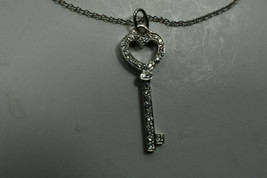 Tiffany & Co Platinum Diamond Encrusted Heart Key Pendant Necklace Suede Box - $2,109.75