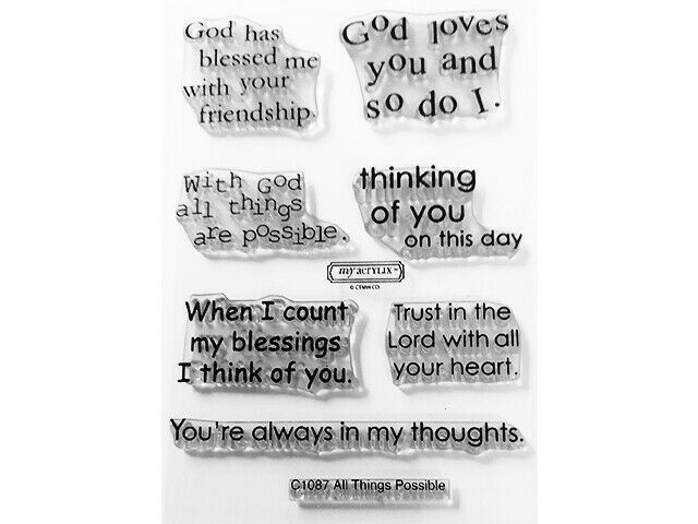 """Close to My Heart """"All Things Possible"""" Clear Cling Acrylic Stamp Set #C1087"""