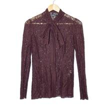 Dolce & Gabbana Bordeaux Cotton Blend Lace Blouse Long Sleeve Top Size XS IT 38 - $125.91