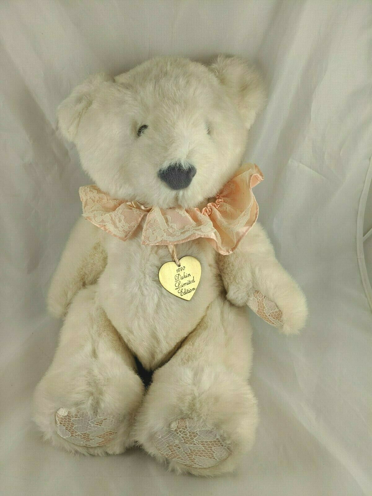 "Primary image for Dakin Bear Plush Peach Lace Collar 17"" 1989 Jointed Stuffed Animal Toy"