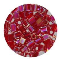 Square Glass Beads Japan 4mm Miyuki Cube Ruby Ab - $6.94