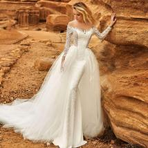 Long Sleeve Victorian Lace Corset Mermaid Trumpet Luxury Wedding Dress With Remo image 7
