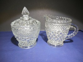 Anchor Hocking Wexford Clear Pressed Glass Creamer and Covered Sugar Set - $15.99
