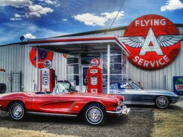 Flying A Service Red Corvette Metal Sign - $30.00