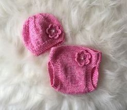 Handmade Baby Knit Hat & Diaper Cover with Flower - $49.56