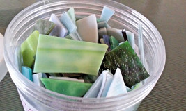 Mosaic Stained Glass Tiles Pieces Blues & Greens 2 lbs 5 oz - $28.50