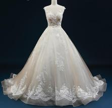 Court Train A-Line Applique Beaded Sheer Lace Tulle Wedding Gown image 2
